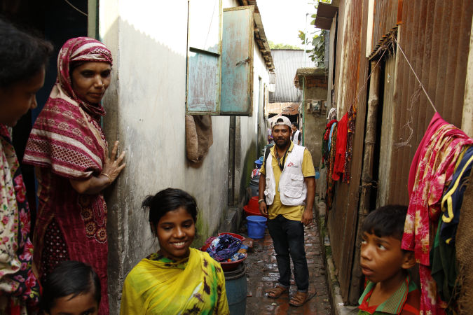 An MSF outreach monitor in Kamrangirchar, a slum in the south of Dhaka. The outreach team go door to door throughout the community to raise awareness of the services MSF offers in the area. Bangladesh. Photo by Amber Dowell/MSF