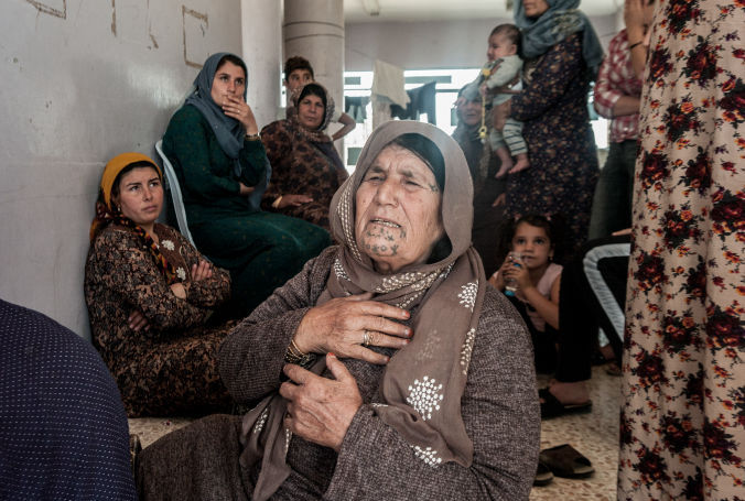 An elderly woman affected by the North East Syria emergency, October 2019. Photo by Jake Simkin.
